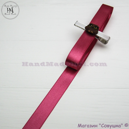 Double sides satin ribbon 2 cm width colour 21-сoral
