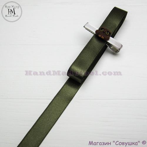 Double sides satin ribbon 2 cm width colour 71-olive