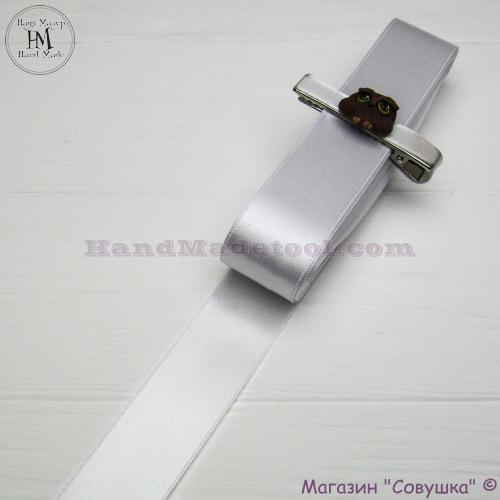 Double sides satin ribbon 3 cm width colour 01-white