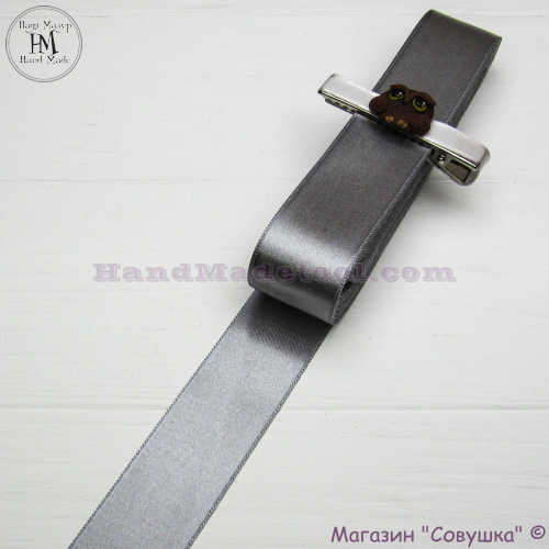Double sides satin ribbon 3 cm width colour 41-gray