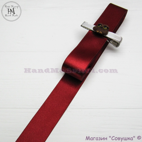 Double sides satin ribbon 3 cm width colour 53-marsala