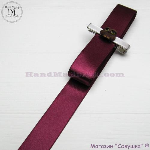 Double sides satin ribbon 3 cm width colour 56-bordeaux