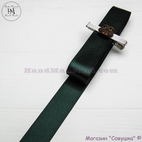 Double sides satin ribbon 3 cm width colour 77-dark emerald