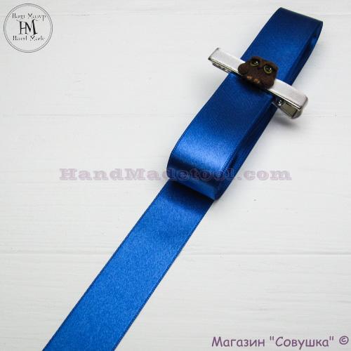 Double sides satin ribbon 3 cm width colour 95-blue