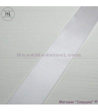 Double sides satin ribbon 4 cm width  colour 01-white