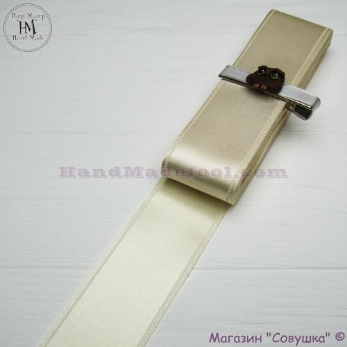 Double sides satin ribbon 4 cm width colour 04-lactic