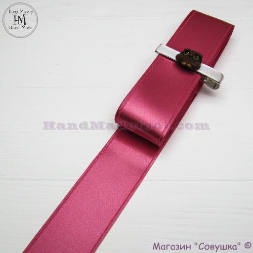 Double sides satin ribbon 4 cm width colour 21-сoral