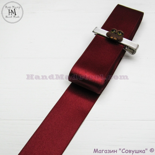 Double sides satin ribbon 4 cm width colour 53-marsala