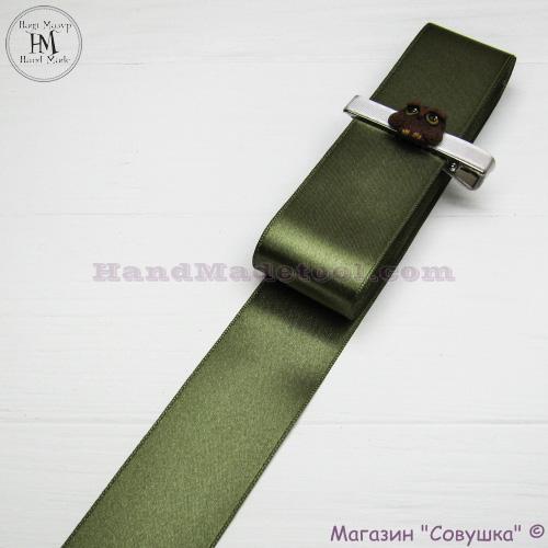 Double sides satin ribbon 4 cm width colour 71-olive