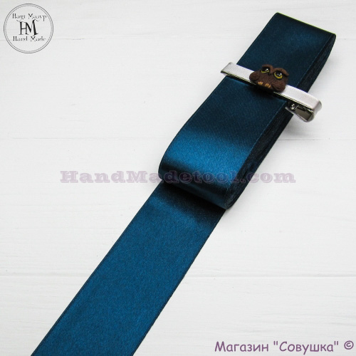Double sides satin ribbon 4 cm width, colour 79-moray eel.