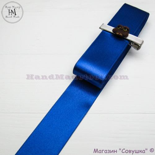 Double sides satin ribbon 4 cm width colour 95-blue