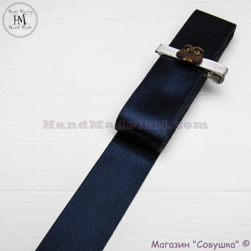 Double sides satin ribbon 4 cm width colour 98-navy blue