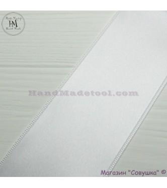 Double sides satin ribbon 6 cm width colour 01-white