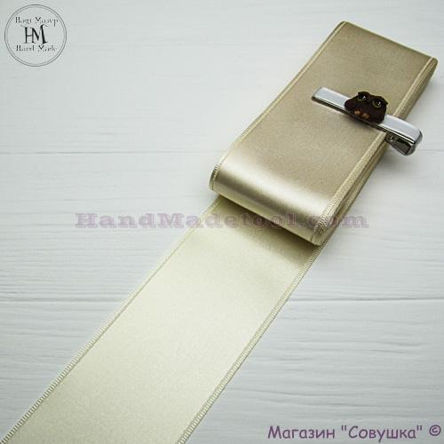 Double sides satin ribbon 6 cm width colour 04-lactic