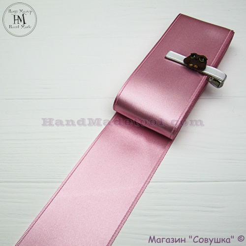 Double sides satin ribbon 6 cm width colour 19-pink