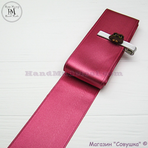 Double sides satin ribbon 6 cm width colour 21-сoral