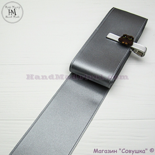 Double sides satin ribbon 6 cm width colour 43-silver