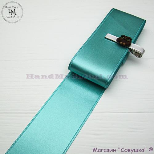 Double sides satin ribbon 6 cm width, colour 65-mint.