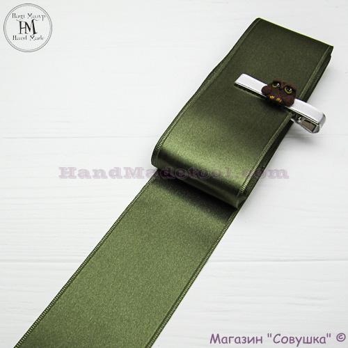 Double sides satin ribbon 6 cm width colour 71-olive