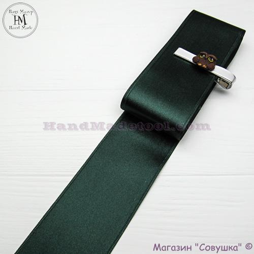 Double sides satin ribbon 6 cm width colour 77-dark emerald