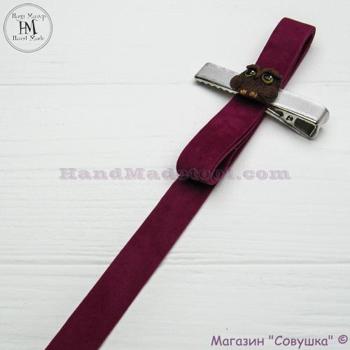 Faux suede ribbon 1,5 cm width colour 23-сrimson