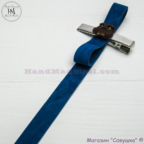 Faux suede ribbon 1,5 cm width colour 66-dark mint