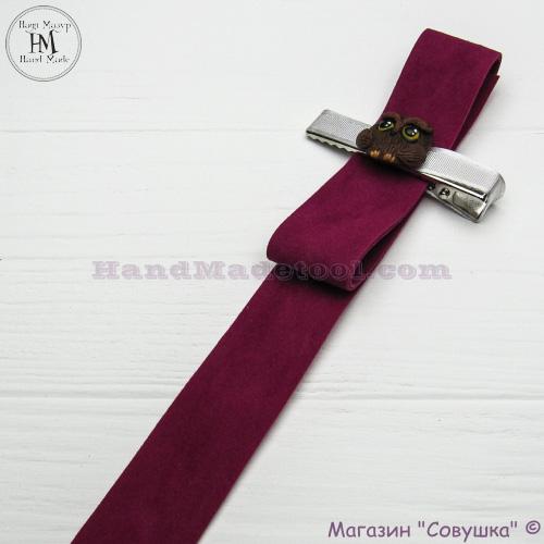 Faux suede ribbon 2,5 cm width, colour 23-сrimson.