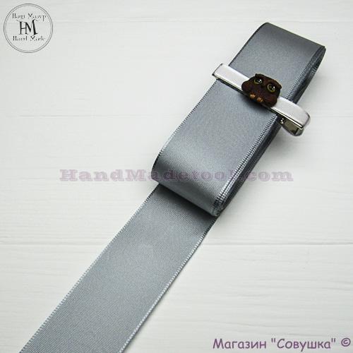 Reps ribbon 4 cm width, colour 43-silver.