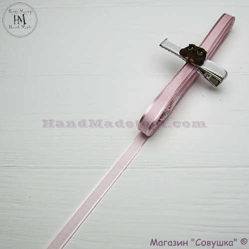 Silk ribbon with a satin edge 1 cm width, colour 16-light pink.