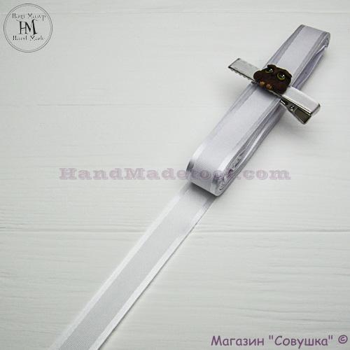 Silk ribbon with a satin edge 2 cm width colour 01-white