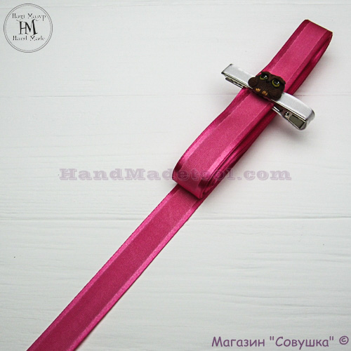 Silk ribbon with a satin edge 2 cm width colour 22-dark crimson