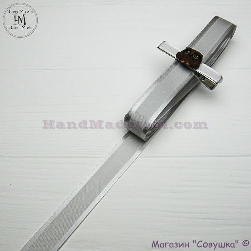 Silk ribbon with a satin edge 2 cm width colour 41-gray