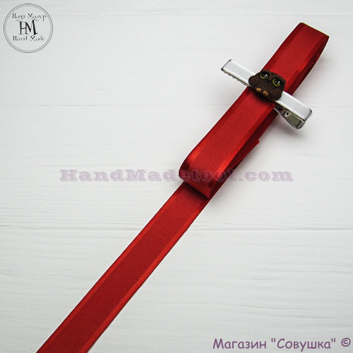 Silk ribbon with a satin edge 2 cm width, colour 50-red.