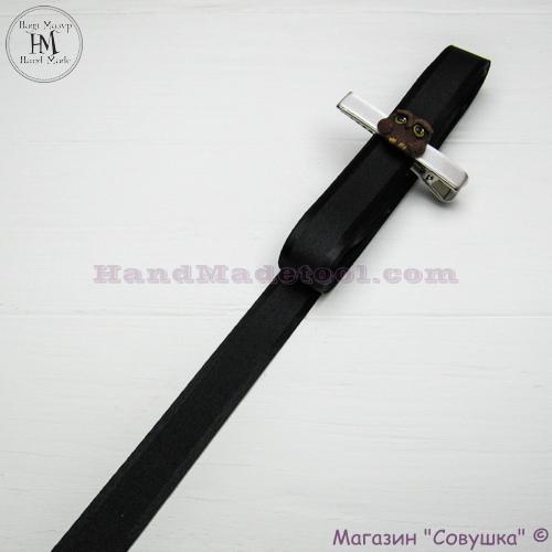 Silk ribbon with a satin edge 2 cm width colour 60-black