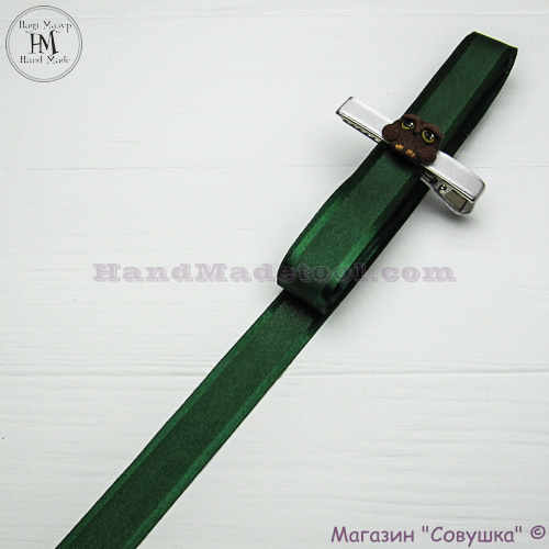 Silk ribbon with a satin edge 2 cm width colour 75-dark green