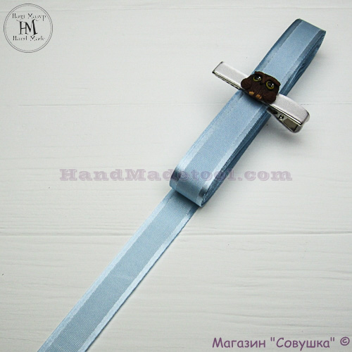 Silk ribbon with a satin edge 2 cm width colour 91-light blue