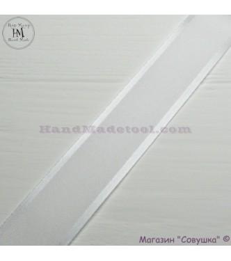 Silk ribbon with a satin edge 3 cm width colour 01-white