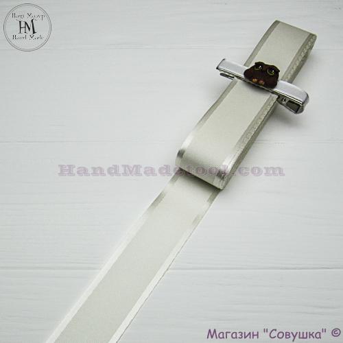 Silk ribbon with a satin edge 3 cm width, colour 02-antique.