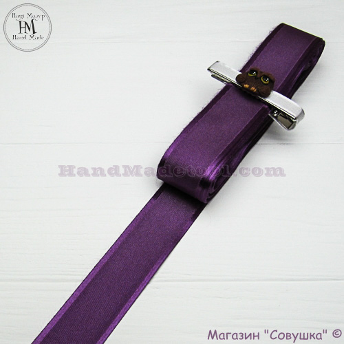 Silk ribbon with a satin edge 3 cm width, colour 40 пурпурный-purple.