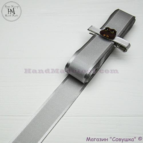 Silk ribbon with a satin edge 3 cm width, colour 41-gray.