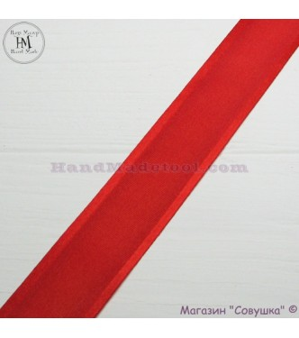 Silk ribbon with a satin edge 3 cm width, colour 50-red.