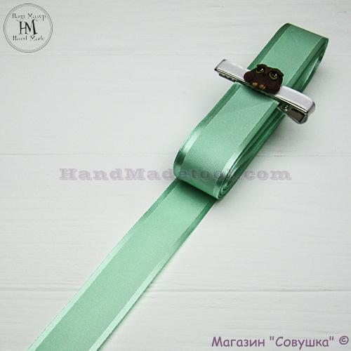 Silk ribbon with a satin edge 3 cm width, colour 62-lime.