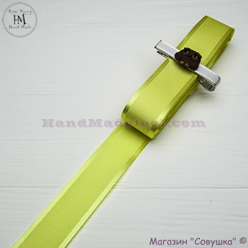 Silk ribbon with a satin edge 3 cm width colour 82-yellow